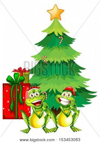 Christmas theme with two frogs and christmas tree illustration