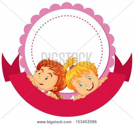 Label design with two girls illustration
