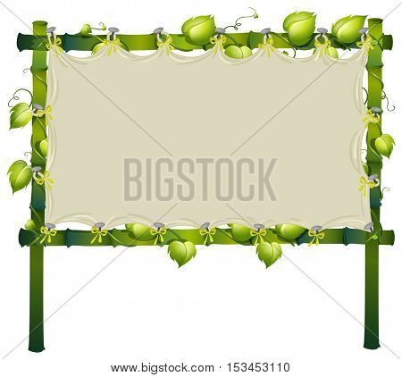 Frame made of bamboo with white cloth illustration