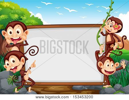 Frame design with four monkeys in the field illustration