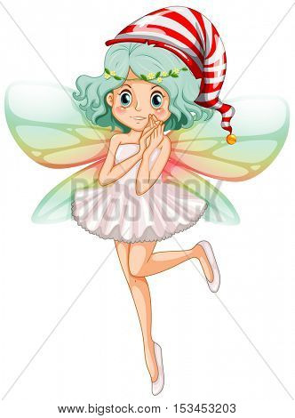 Fairy wearing party hat for Christmas illustration