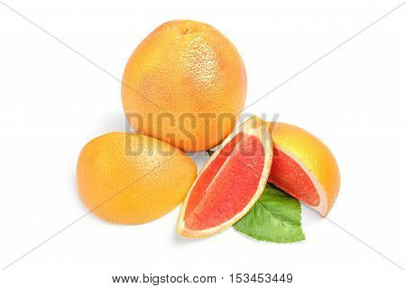 Grapefruit with wedges isolated on white background cutout