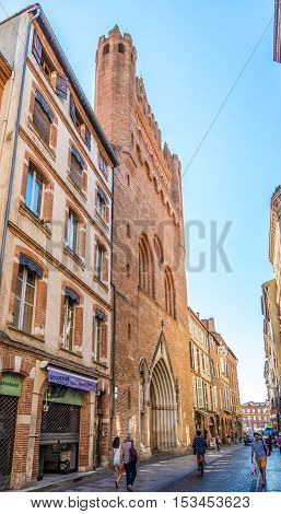 TOULOUSE,FRANCE - AUGUST 30,2016 - Church Notre Dame de Taur in the streets of Toulouse. Toulouse is the capital city of the southwestern French department of Haute-Garonne as well as of the Occitanie region.