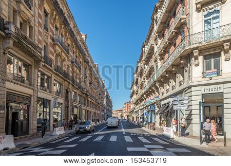TOULOUSE,FRANCE - AUGUST 30,2016 - In the streets of Toulouse. Toulouse is the capital city of the southwestern French department of Haute-Garonne as well as of the Occitanie region.