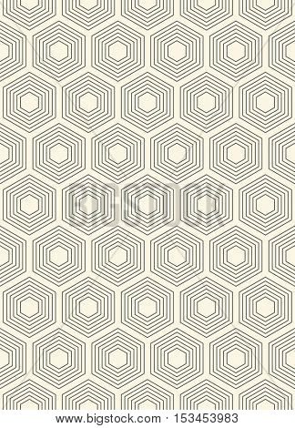 Seamless Hexagon Pattern. Vector Monochrome Background. Abstract Geometric Wallpaper. Minimal Wrapping Paper Design