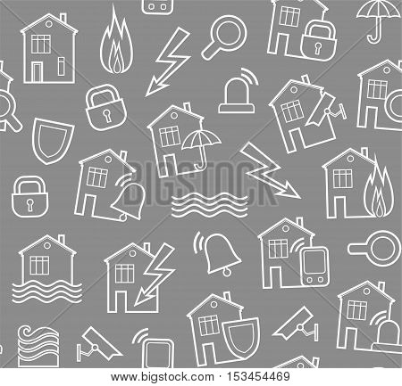 Security of housing and office buildings, background, seamless, gray. Vector background with white contour drawings on the grey box. Protection of residential and business premises.