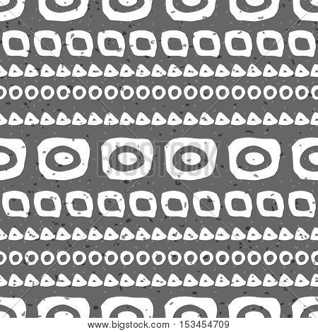 Abstract hand drawn seamless pattern. Black and white grunge background with simple geometric shapes.