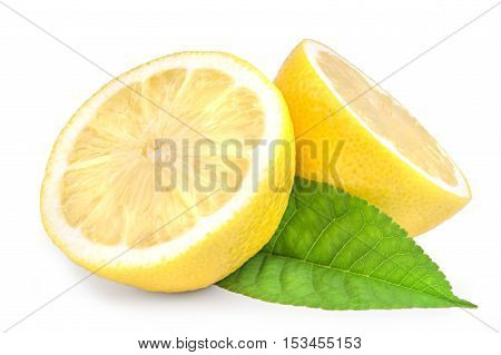 Lemon wedges with leaves isolated on white background cutout