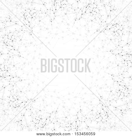 Abstract grey DNA round molecular structure background. Vector biology atom illustration template. Medical design