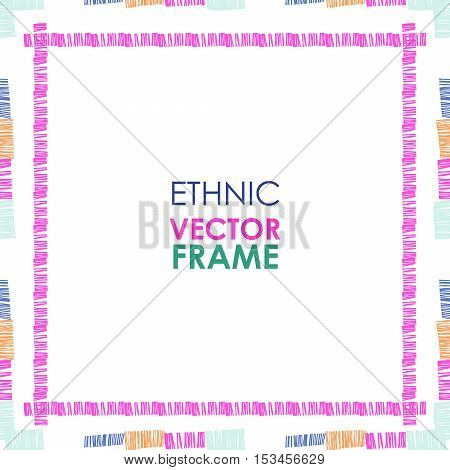 Abstract vector ethnic square border. Tribal striped frame on white background.