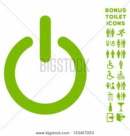 Turn Off icon and bonus gentleman and lady restroom symbols. Vector illustration style is flat iconic symbols, eco green color, white background.