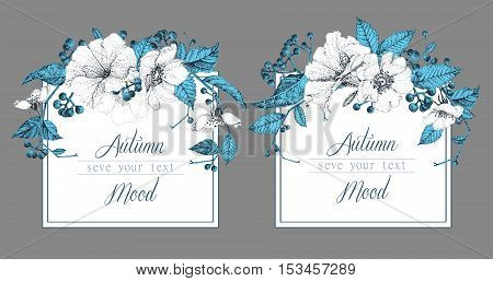 Set of two templates for cards or invitations. Vector illustration. Composition of autumn flowers and berries. Pointillism style.