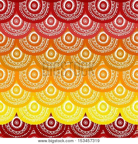 Ethnic seamless pattern. Indian ornament kaleidoscopic flora pattern mandala. range circle round disknice abstract seamless pattern