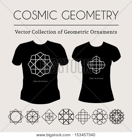 Cosmic Geometry. Vector t-shirt template with mystical signs
