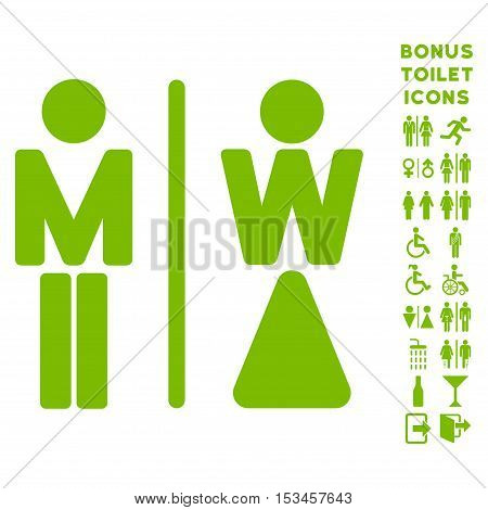 WC Persons icon and bonus gentleman and female lavatory symbols. Vector illustration style is flat iconic symbols, eco green color, white background.
