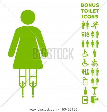 Woman Crutches icon and bonus man and lady toilet symbols. Vector illustration style is flat iconic symbols, eco green color, white background.