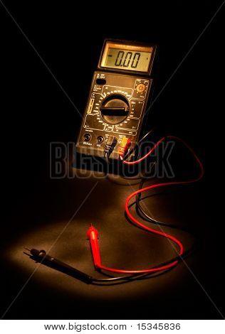 Hi tech measurement instrumentation on black background