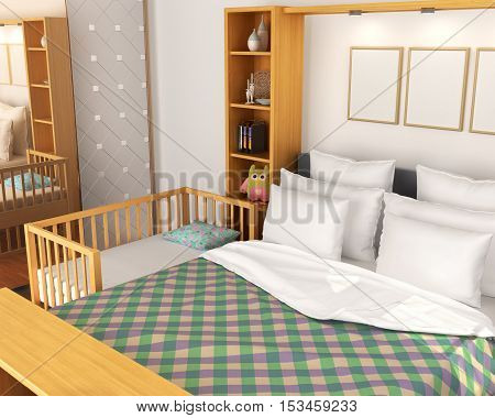 Bedroom. Baby cot near the parents' bed. 3d illustration