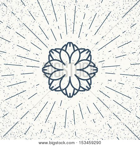 Asian linear lotus ornament. Vector decorative geometric symbol.