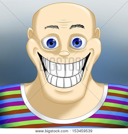 Portrait of a smiling bald man in a striped multicolored shirt