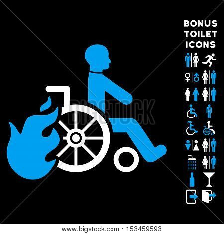 Burn Patient icon and bonus male and female WC symbols. Vector illustration style is flat iconic bicolor symbols, blue and white colors, black background.