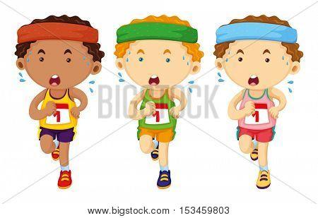 Three runners running in race illustration
