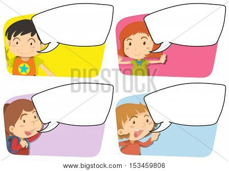 Speech bubble templates with girl and boy illustration