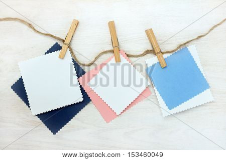 blank cards for lettering hanging on clothespins / holiday cards templates