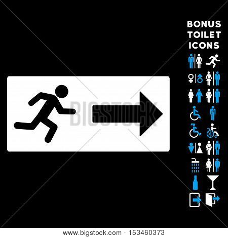 Emergency Exit icon and bonus gentleman and lady lavatory symbols. Vector illustration style is flat iconic bicolor symbols, blue and white colors, black background.