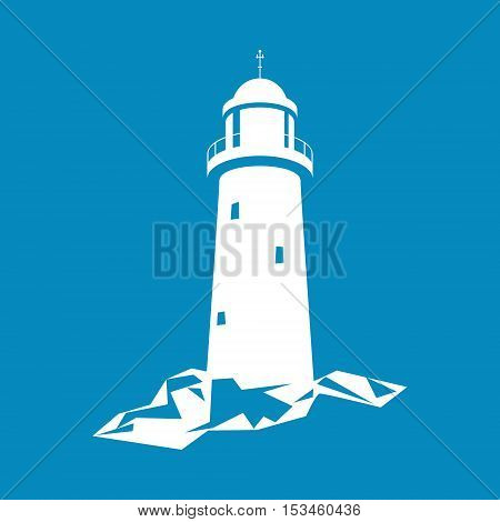 Lighthouse, Beacon Isolated on Blue Background, Lighthouse Stands on Rocks, Vector Illustration