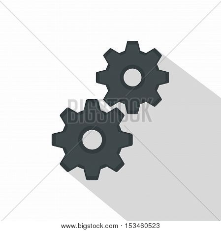 Gear icon. Flat illustration of gear vector icon for web