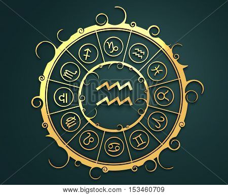 Astrological symbols in the circle. Golden emblem. Metallic material. 3d rendering. Water bearer sign