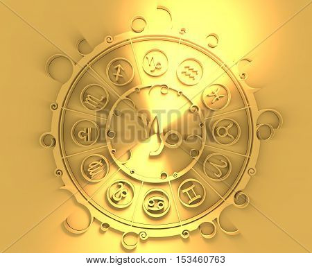 Astrological symbols in the circle. Golden emblem. Metallic material. 3d rendering. The sea goat sign