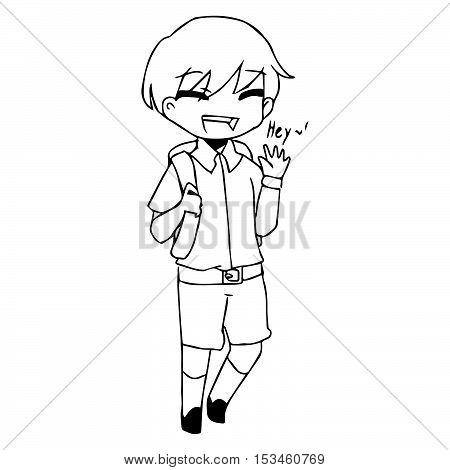 illustration vector hand drawn doodle of smiling boy saying hello