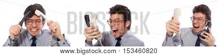 Angry call center employee in collage