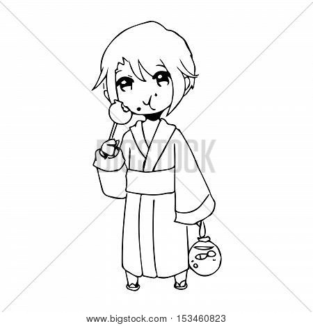 illustration vector hand drawn doodle of girl wearing traditional japanese clothing and eating candy