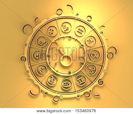 Astrological symbols in the circle. Golden emblem. Metallic material. 3d rendering. The bull sign