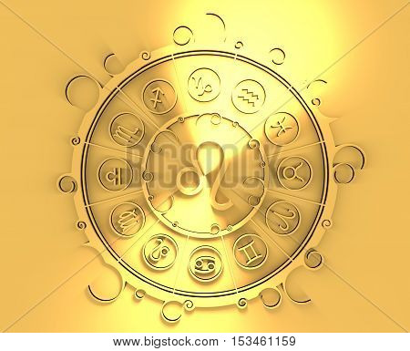 Astrological symbols in the circle. Golden emblem. Metallic material. 3d rendering. The lion sign