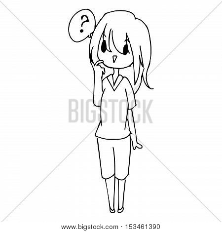 illustration vector hand drawn doodle of little confused girl with question mark