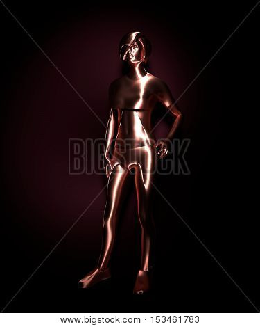 Attractive fashionable woman model. 3D rendering. Mannequin of a metallic material