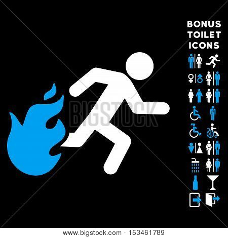 Fired Running Man icon and bonus gentleman and woman WC symbols. Vector illustration style is flat iconic bicolor symbols, blue and white colors, black background.
