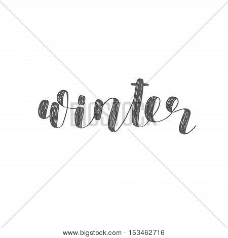 Winter. Brush hand lettering. Inspiring quote. Motivating modern calligraphy. Can be used for photo overlays, posters, holiday clothes, cards and more.