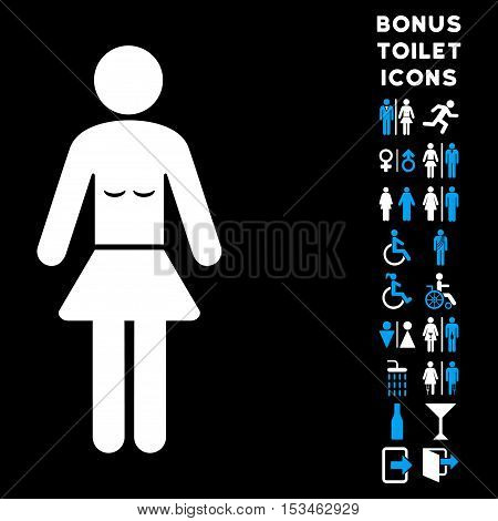 Lady icon and bonus male and lady toilet symbols. Vector illustration style is flat iconic bicolor symbols, blue and white colors, black background.