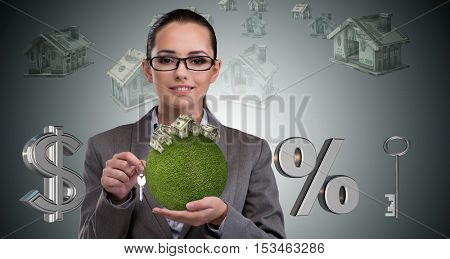 Businesswoman in mortgage business concept