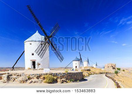 Cosuegra, Spain. Windmills of Don Quixote in Toledo province.