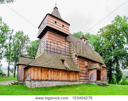Old Gothic Wooden Church In Grywald Village, Pieniny Mountains, Poland