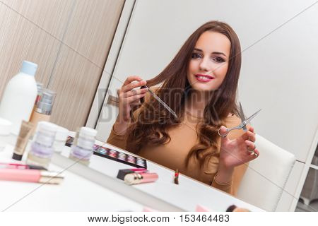 Woman getting ready for the party