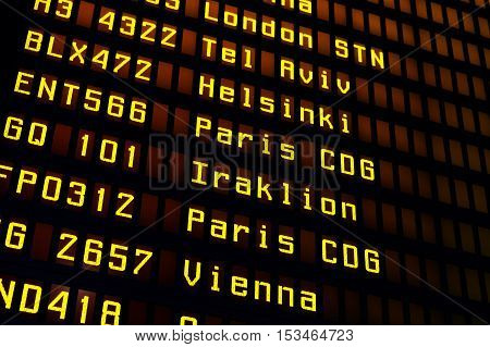 Electronic Airport Flight board with departures schedule
