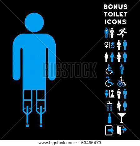 Man Crutches icon and bonus man and female toilet symbols. Vector illustration style is flat iconic bicolor symbols, blue and white colors, black background.