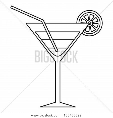 Beach cocktail icon. Outline illustration of beach cocktail vector icon for web